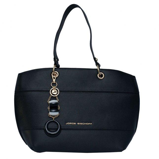 Bolsa Sacola em Couro Preta com Bag Charm V20
