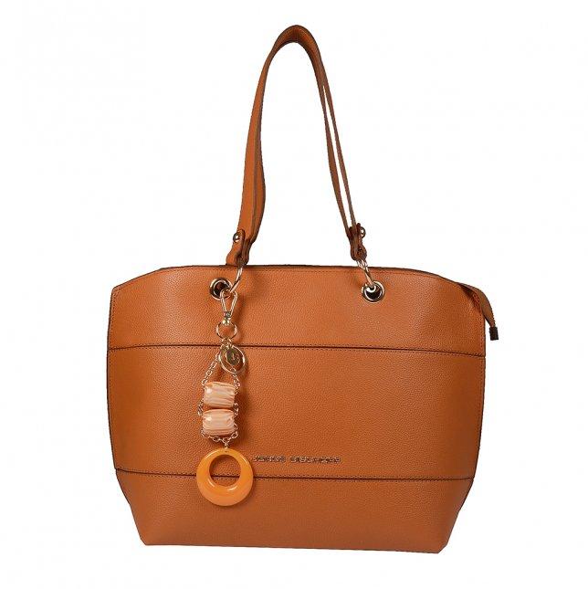 Bolsa Sacola em Couro Whisky com Bag Charm V20
