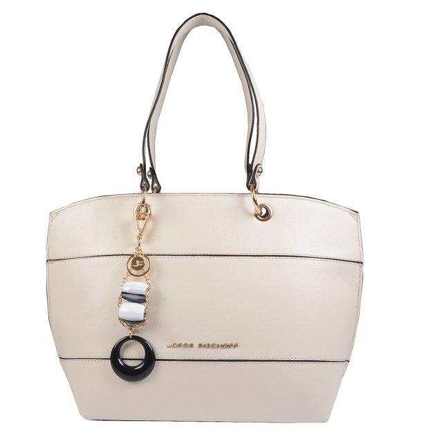 Bolsa Sacola em Couro Off White com Bag Charm V20