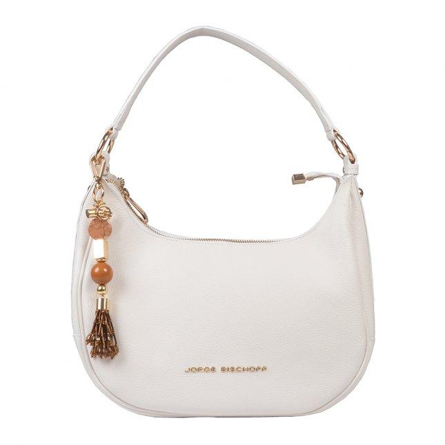 Bolsa Baguete Couro Branco com Bag Charm