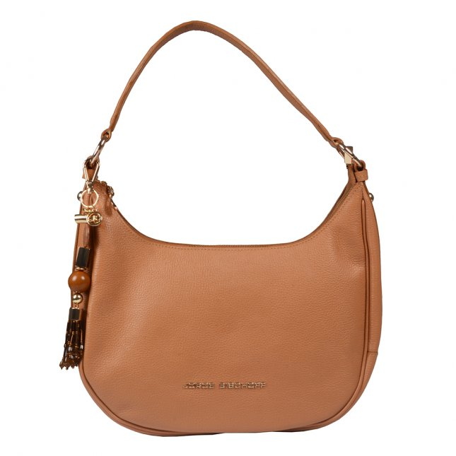 Bolsa Baguete Couro Camel com Bag Charm