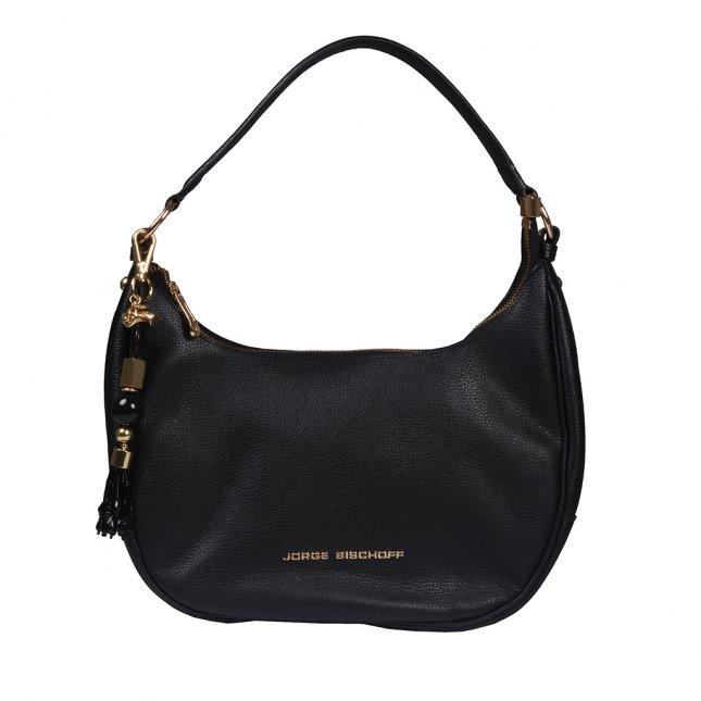 Bolsa Baguete Couro Preta com Bag Charm