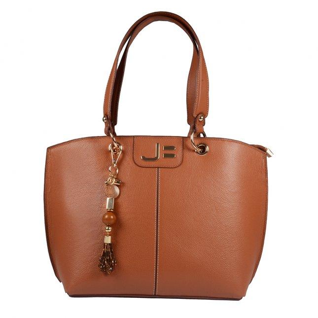 Bolsa Sacola em Couro Caramelo com Bag Charm