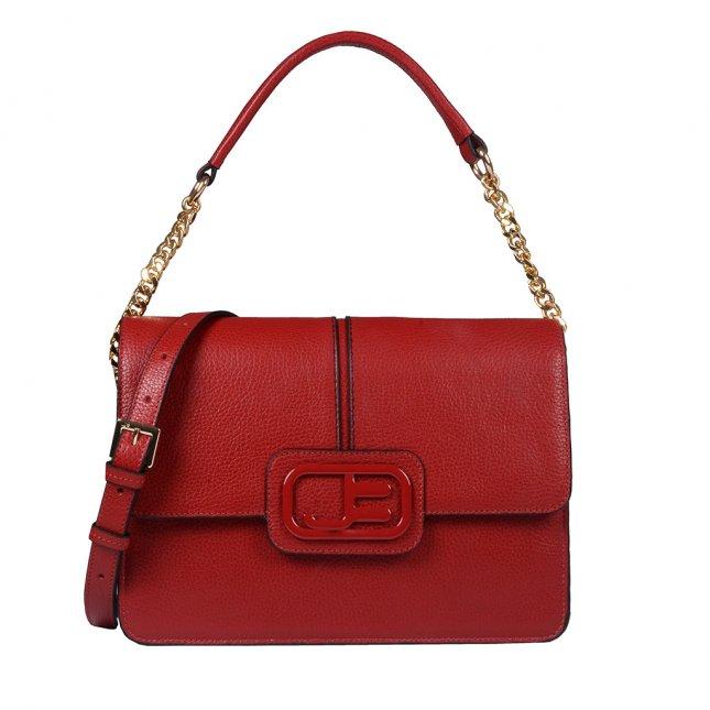 Bolsa Estruturada Couro Vermelho com Alça Corrente I20