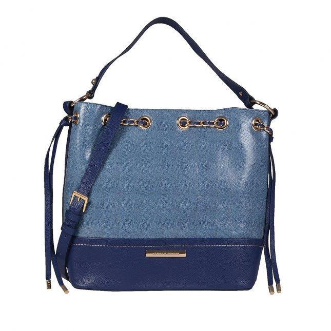 Bolsa Saco Couro Jeans Azul Náutico V20