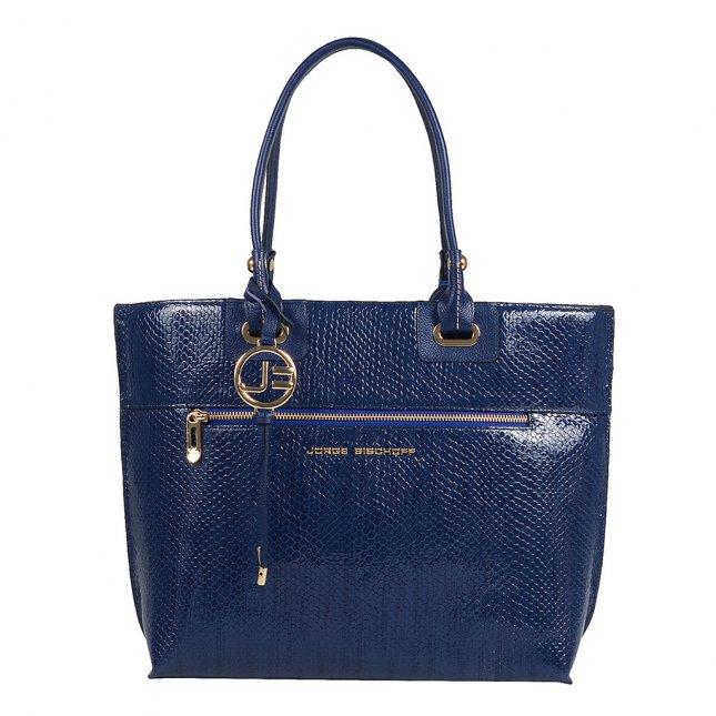 Bolsa Sacola Couro Verniz Azul Náutico V20