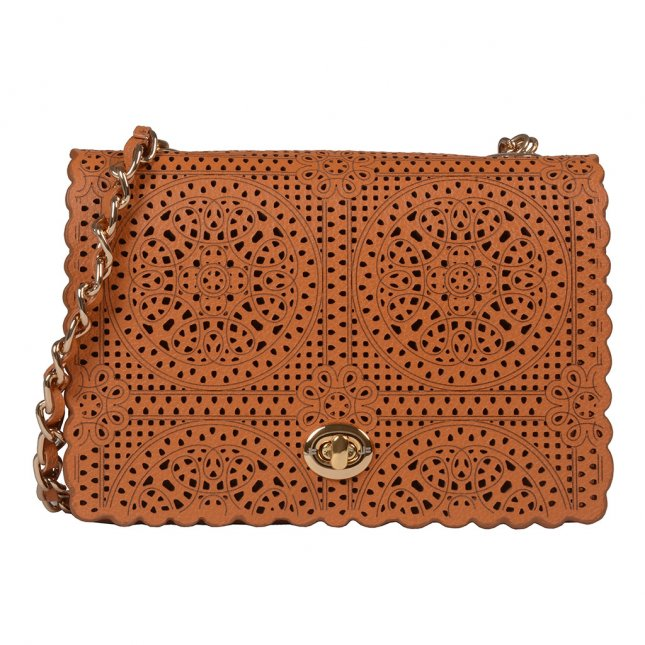 Clutch Couro Broderie Whisky V20