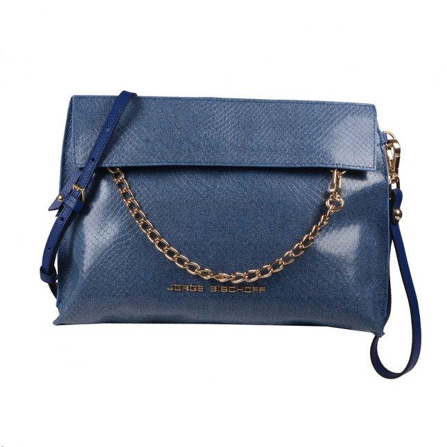 Clutch Couro Jeans Azul Náutico V20