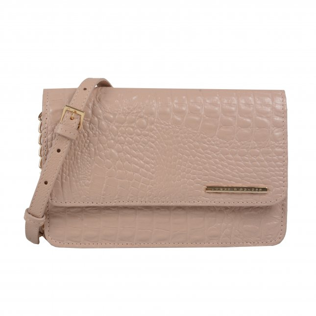 Clutch tiracolo texturizada bege
