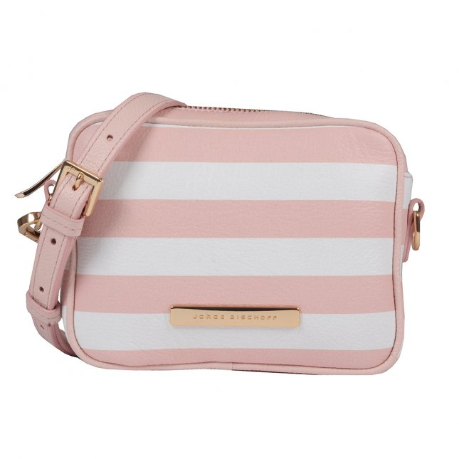 Clutch Tiracolo Couro Stripes Pale Pink V20