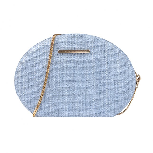 Clutch Ráfia Azul Jeans com Alça Corrente V20