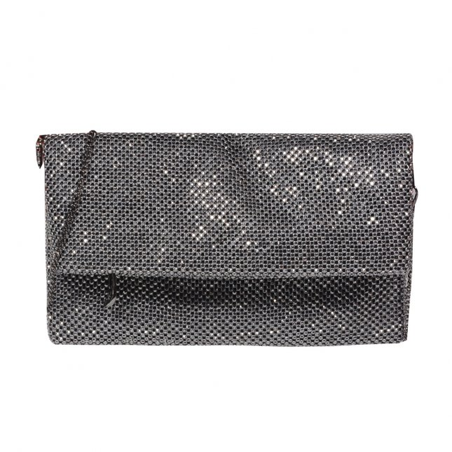 Clutch Strass Grafite com Alça Corrente V20