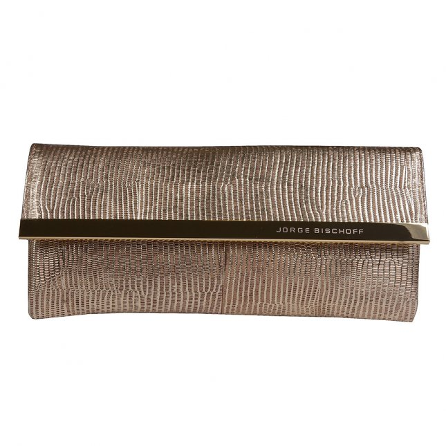 Clutch Carteira Couro Metalizado Ouro V20
