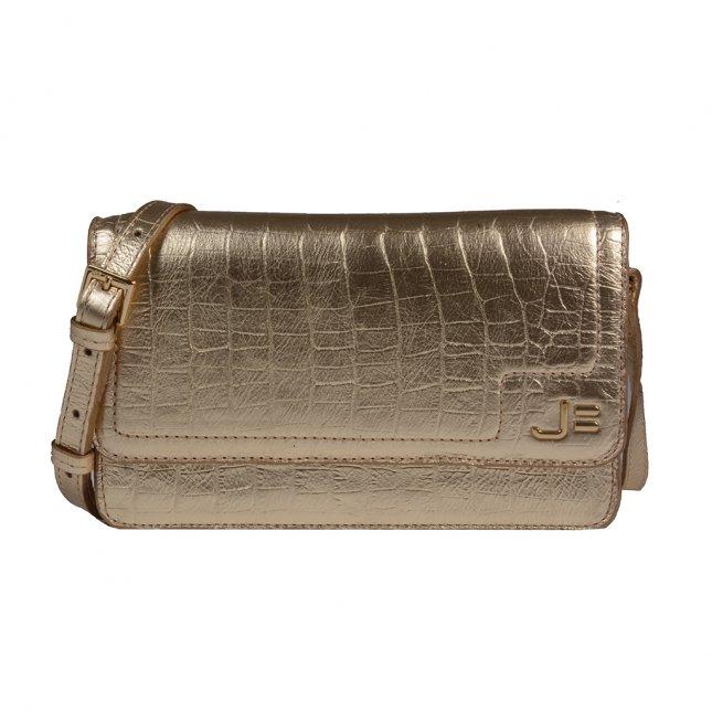 Clutch Tiracolo Croco Metalizado Ouro V20