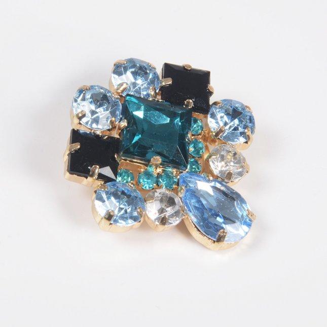 Broche Floral com Pedrarias Azul e Cristal I20