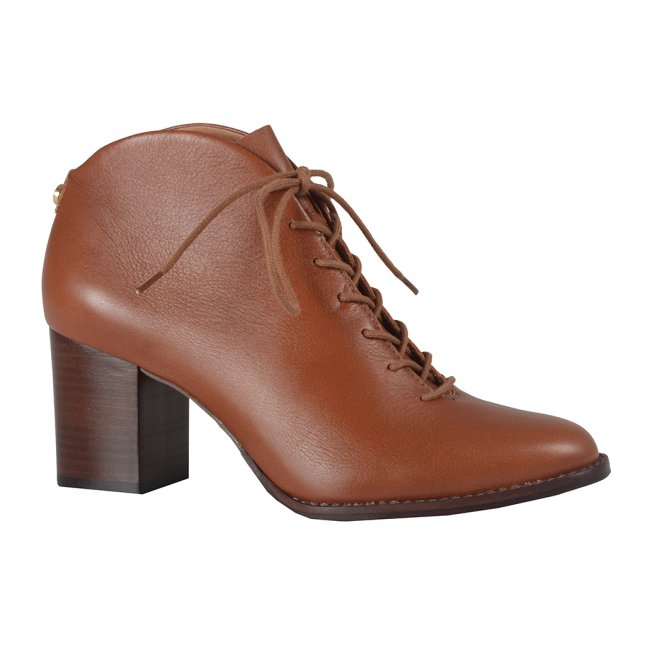 Ankle Boot Marrom em Couro Com Amarração I21