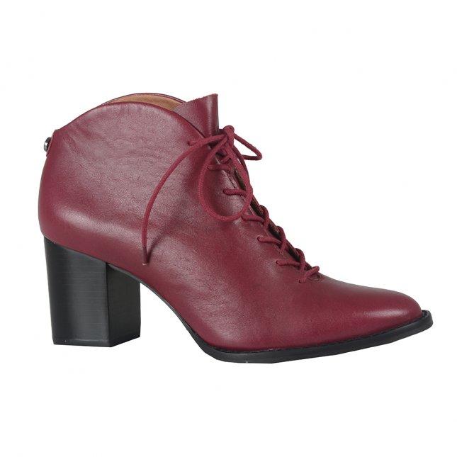 Ankle Boot Amarone em Couro Com Amarração I21
