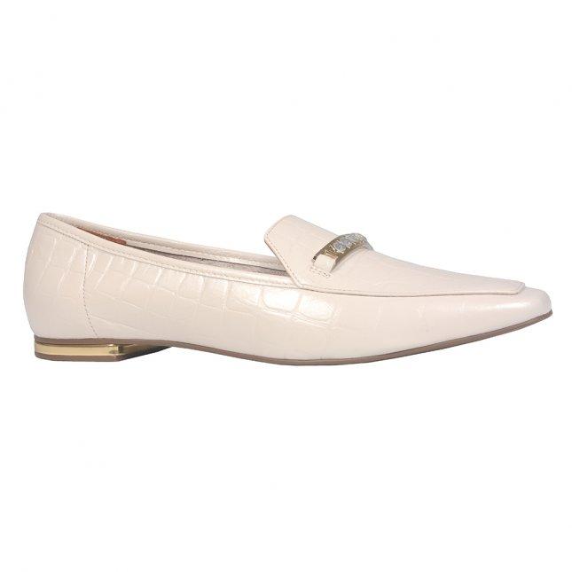 Loafer Couro Croco Off White V22