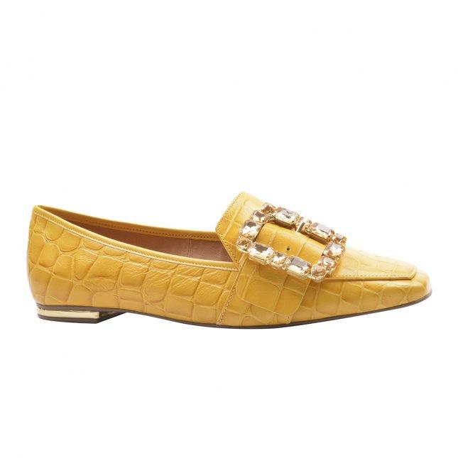 Loafer Couro Texturizado Yellow com Pedrarias V22