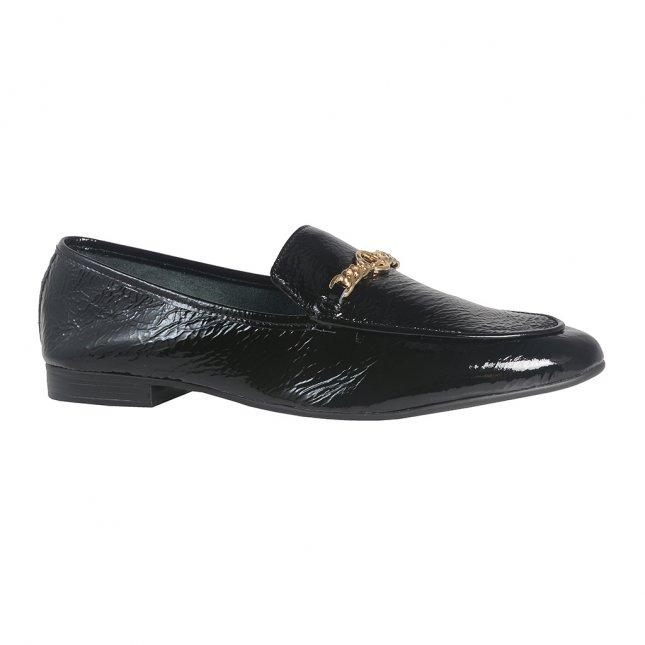 Loafer Preto Em Couro V22