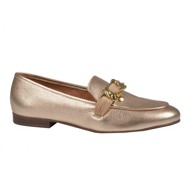 Loafer Couro Metalizado Ouro V22