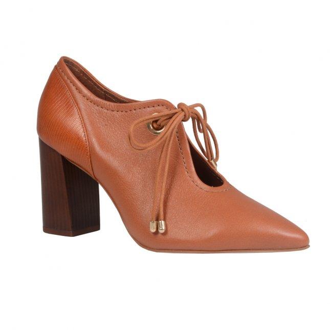Ankle Boot Couro Camel Salto Bloco I21