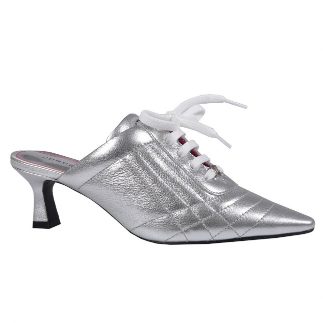 Mule Sneaker em Couro Metalizado Prata V22