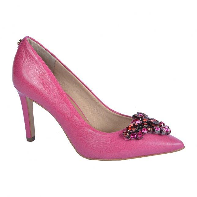 Scarpin Couro Pink com Pedrarias