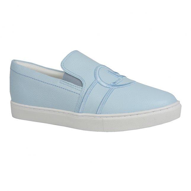 Tênis Slip On Couro Pale Blue com Bordado V20