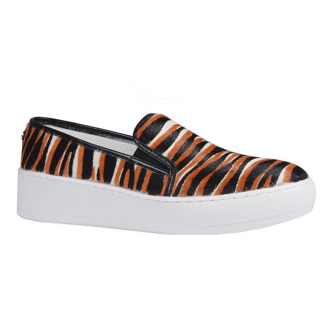 Tênis Slip On Couro Pelo Animal Print Tiger V20