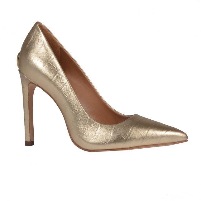 Scarpin Bico Fino Couro Metalizado Ouro V20