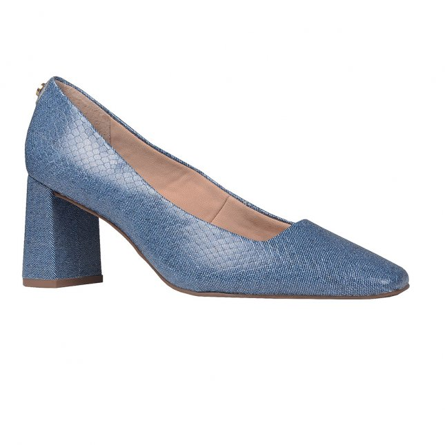Scarpin Couro Jeans Azul Náutico V20