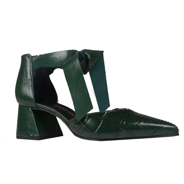 Scarpin Couro Croco Verde com Amarração I20