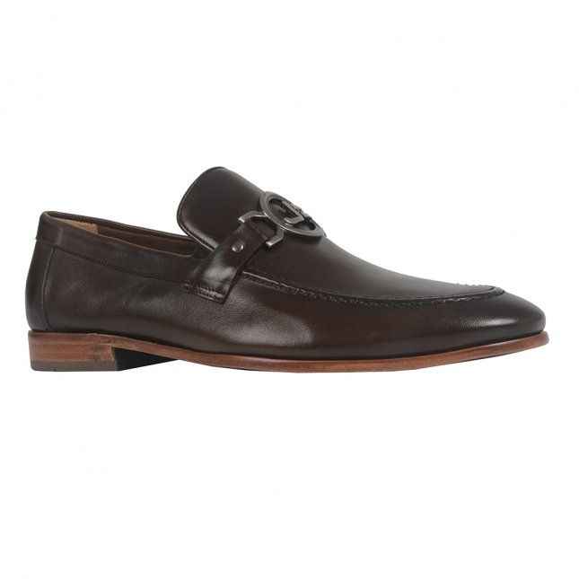 Sapato Loafer Masculino de Couro Café I21