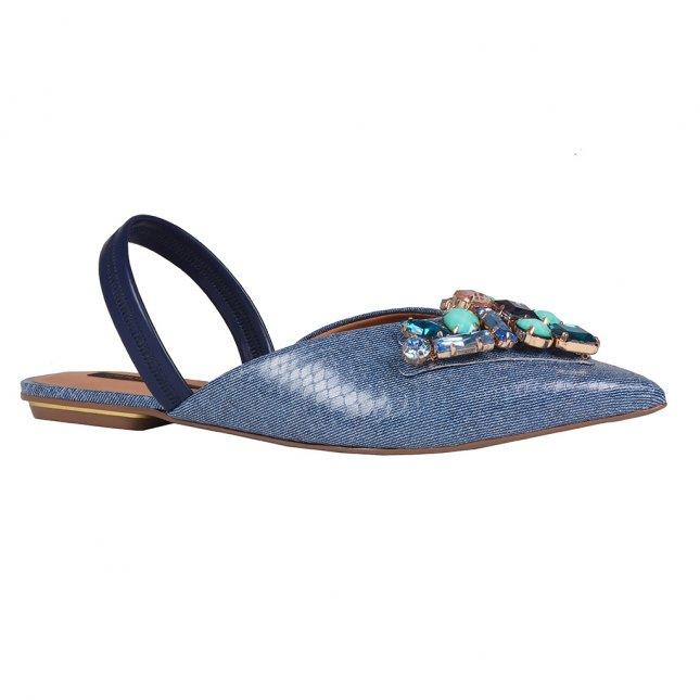 Sapatilha Slingback Jeans Azul Náutico V20