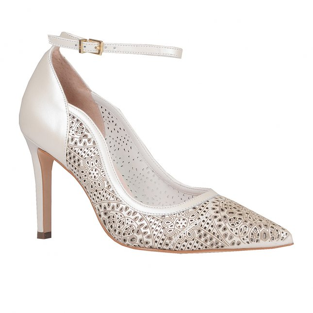 Scarpin Say Yes Couro Broderie Branco V20