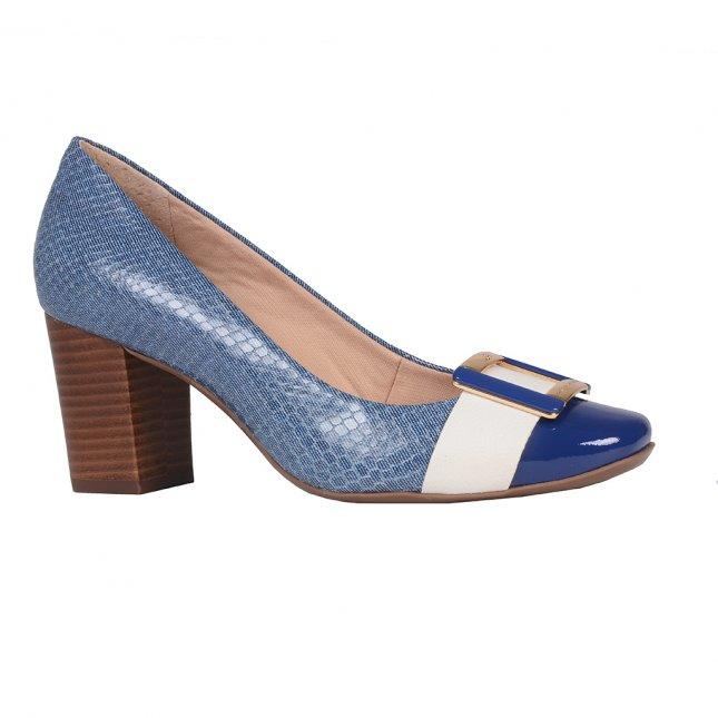 Scarpin Couro Jeans Azul Náutico com Salto Bloco V20