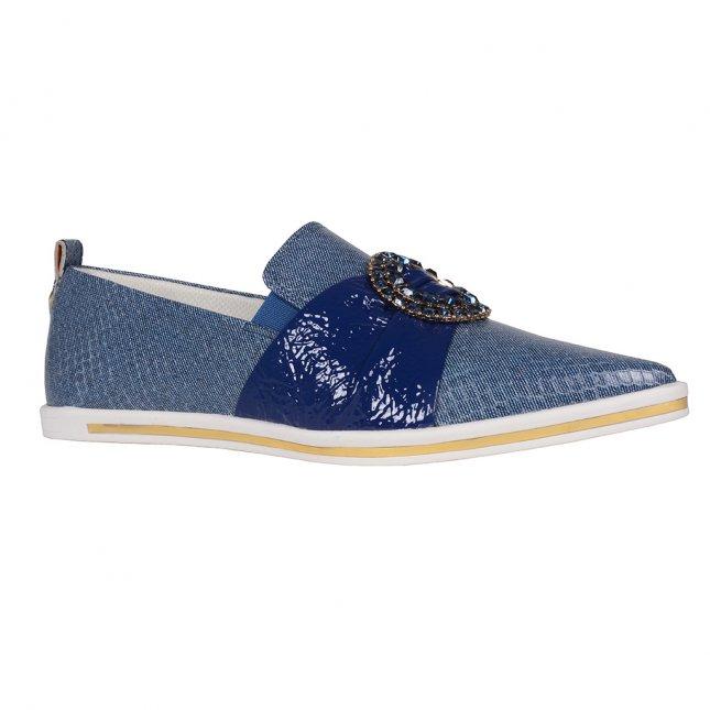 Tênis Slip On Bico Fino Jeans Azul Náutico V20