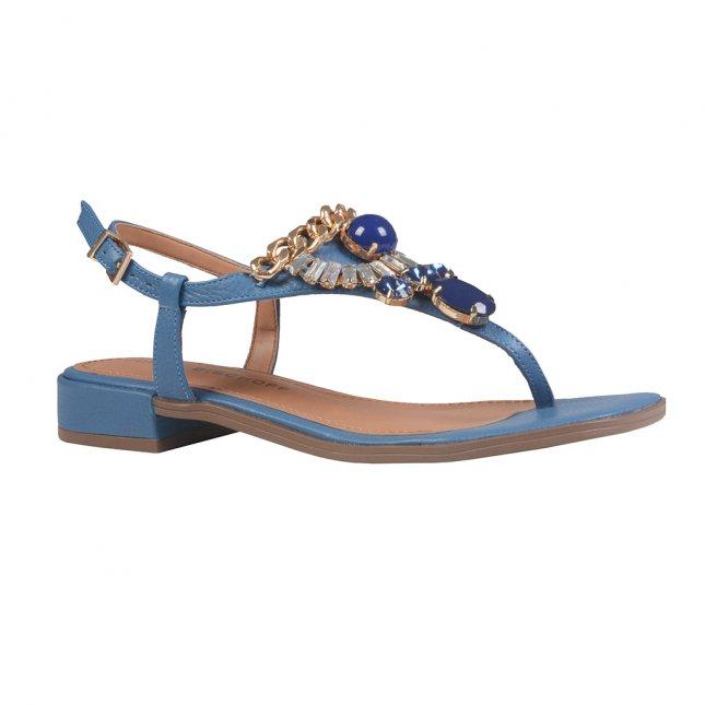Rasteira Salomé Azul com Pedrarias