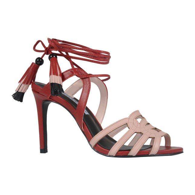 Sandália com Amarração Dark Red I21