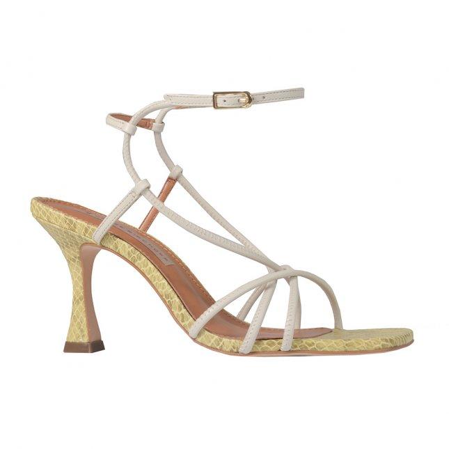 Naked Sandal Off White Bicolor com Bico Quadrado V22