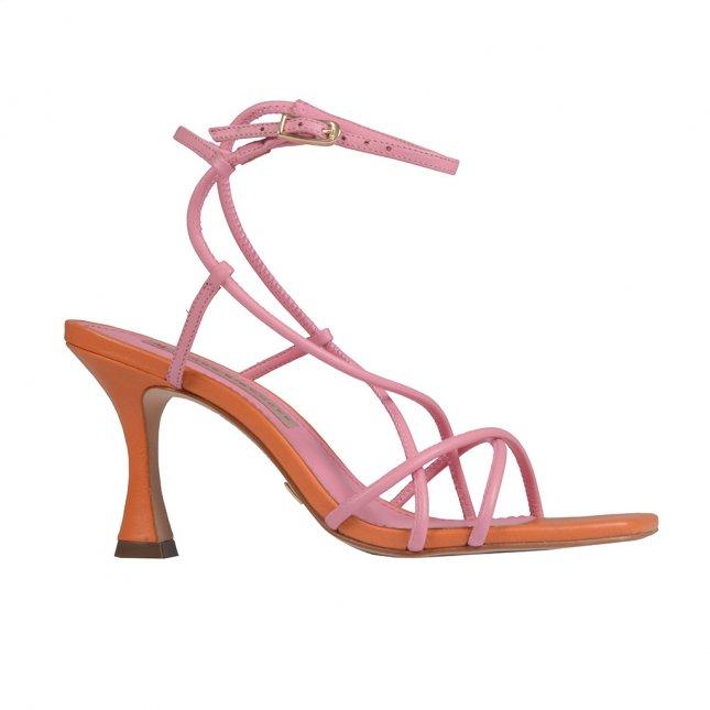 Naked Sandal Bicolor com Bico Quadrado V22