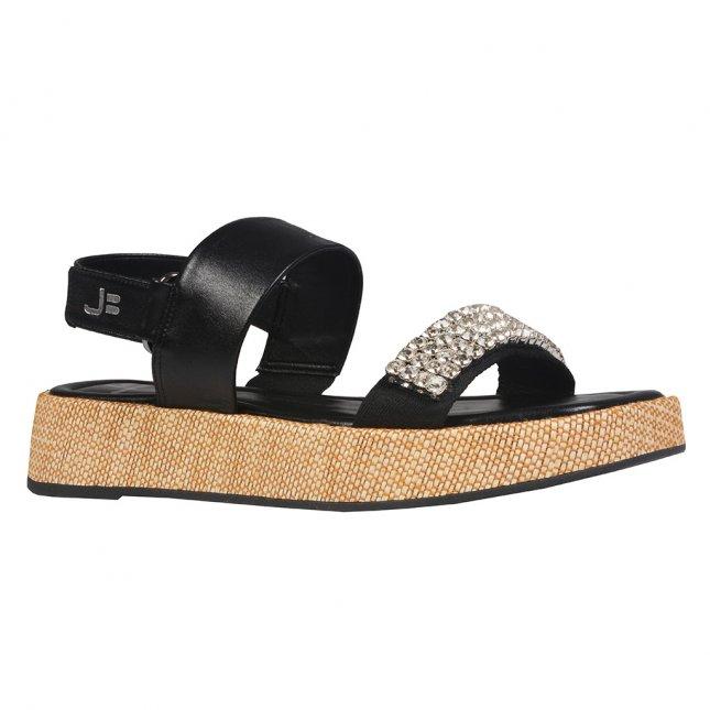 Sandália Plataforma Preta com Strass V22
