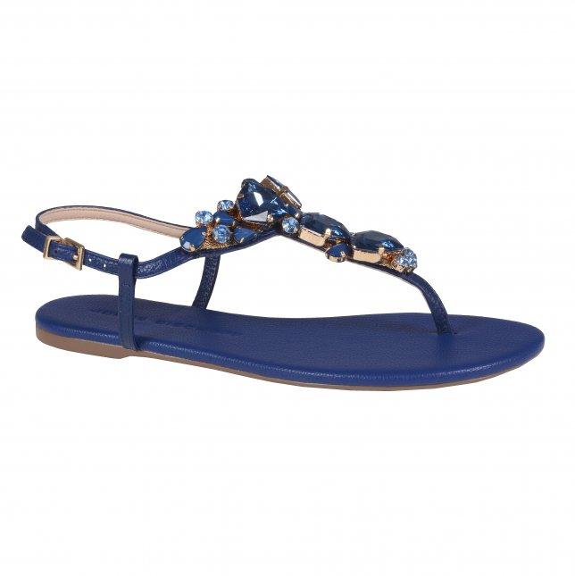 Sandália Rasteira Azul Náutico com Pedrarias