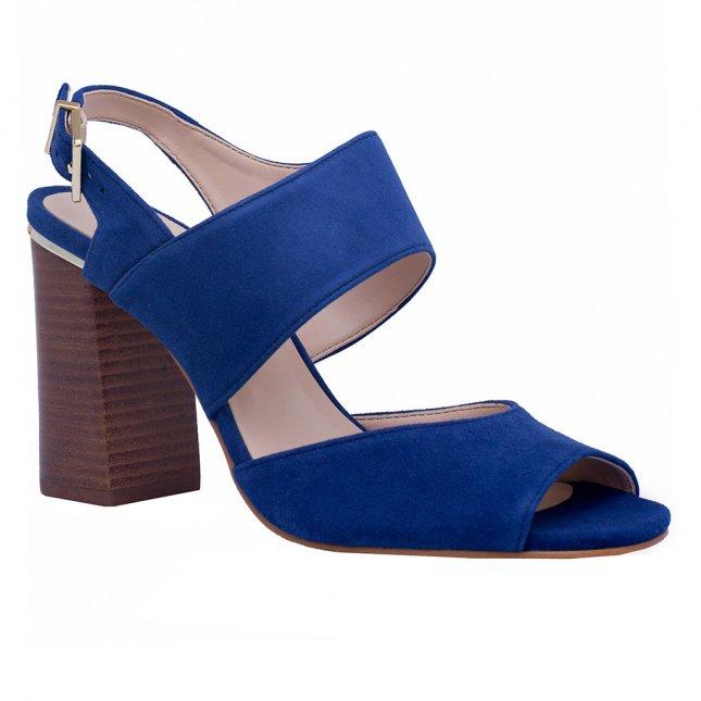 Sandália Couro Azul Índigo com Salto Bloco