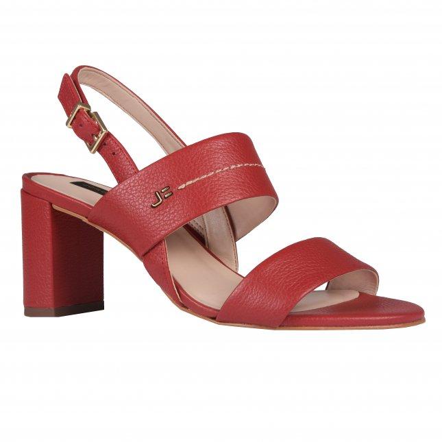 Sandália em Couro Vermelho com Salto Bloco