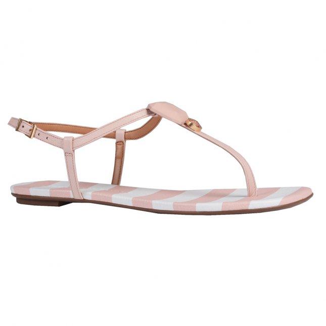 Sandália Rasteira Couro Stripes Pale Pink V20