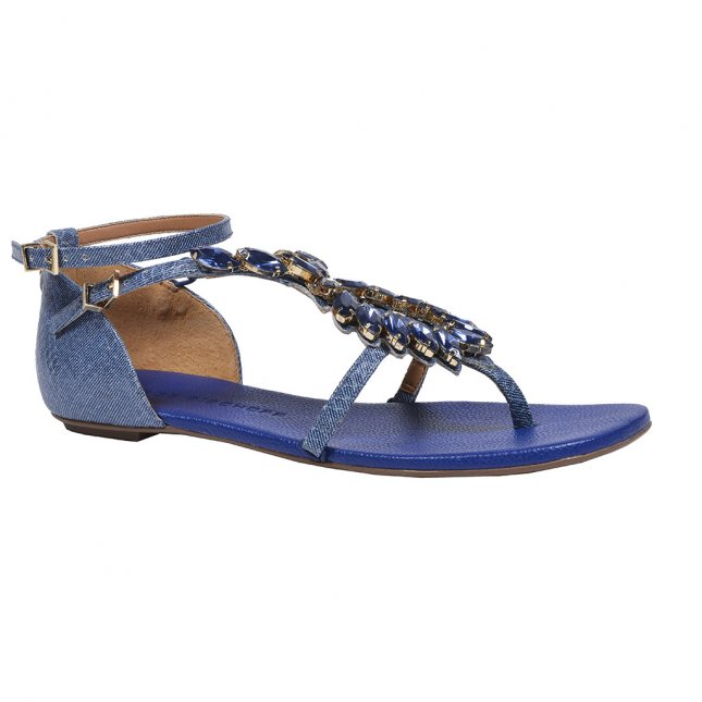 Sandália Rasteira Couro Jeans Azul Náutico V20