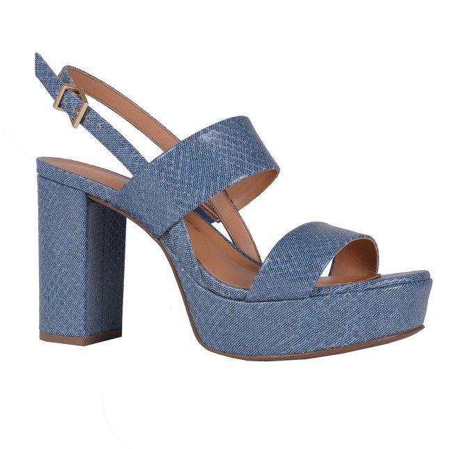 Sandália Meia Pata Couro Jeans Azul Náutico V20