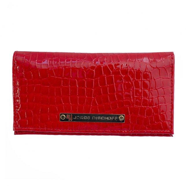 Carteira Porta-Cartão Couro Croco Vermelho V20